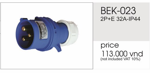 Giá phích cắm công nghiệp 3 chấu 32A không kín nước BEK-023