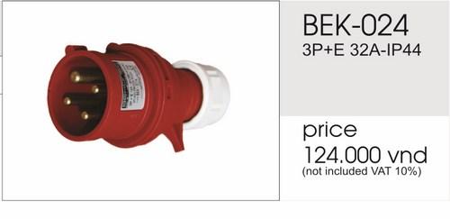 Giá phích cắm công nghiệp 4 chấu 32A không kín nước BEK-024