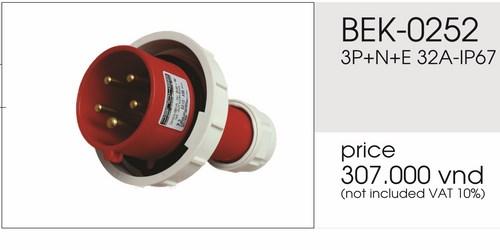 Giá phích cắm công nghiệp 5 chấu kín nước 32A BEK-0252