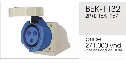 Giá ổ cắm gắn nổi 3 chấu 16A kín nước BEk-1132