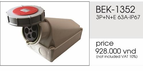 Giá ổ cắm gắn nổi 5 chấu 63A kín nước BEK-1352