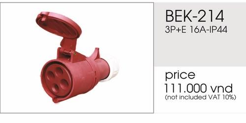 Giá phích nối 4 chấu 16A không kín nước BEK-214