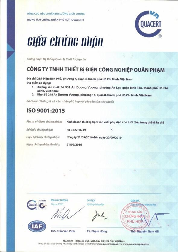 chứng nhận ISO 9001:2015