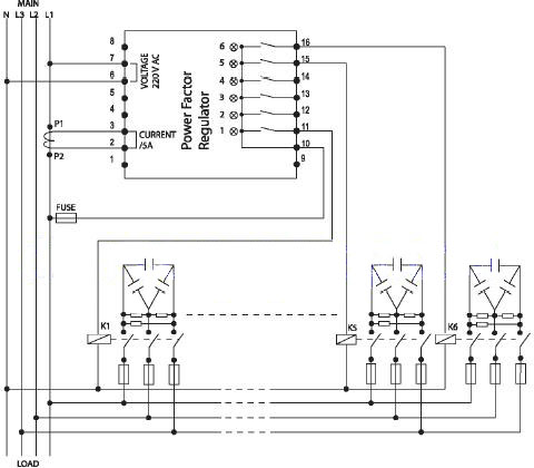 Sơ đồ đấu dây bộ điều khiển tụ bù Mikro với điện áp nguồn 3 pha 220V/380V, điện áp nuôi bộ điều khiển là 220V, cuộn dây contactor 220V