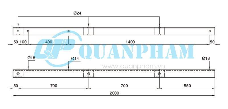 Hình 1: Đà B - Sắt L-75x75x8 - 2000 (Ảnh: quanpham)