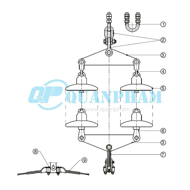 Chuỗi đỡ đôi cho dây acsr, acc – 120kN Double Suspension String for ACSR, AAC – 120KN (with glass insulator) 1