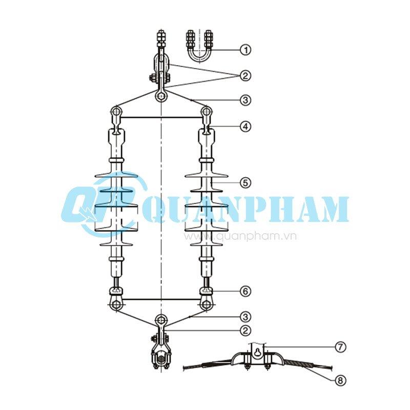 Chuỗi đỡ đôi cho dây acsr, acc – 120kN Double Suspension String for ACSR, AAC – 120KN (with polymer insulator) 1