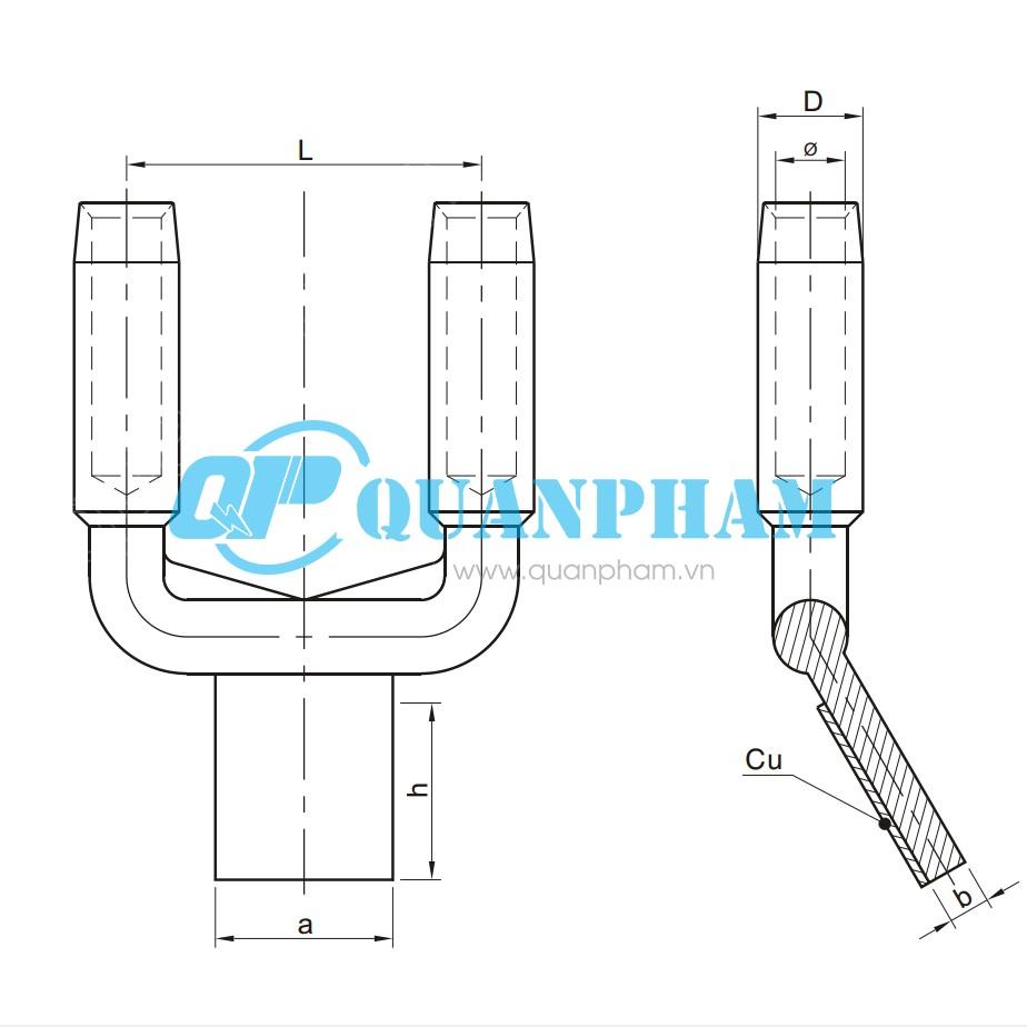 Bản vẽ kỹ thuật Cosse ép chuyển tiếp đồng-nhôm 2 dây dẫn type SSYG, compress30°