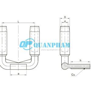 Bản vẽ kỹ thuật Cosse ép chuyển tiếp đồng-nhôm 2 dây dẫn type SSYG, compression 90°