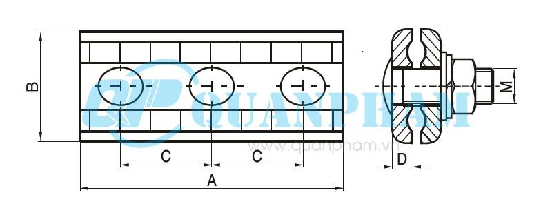 Hình 1: Kẹp chằng 3 bulông (Ảnh: quanpham)
