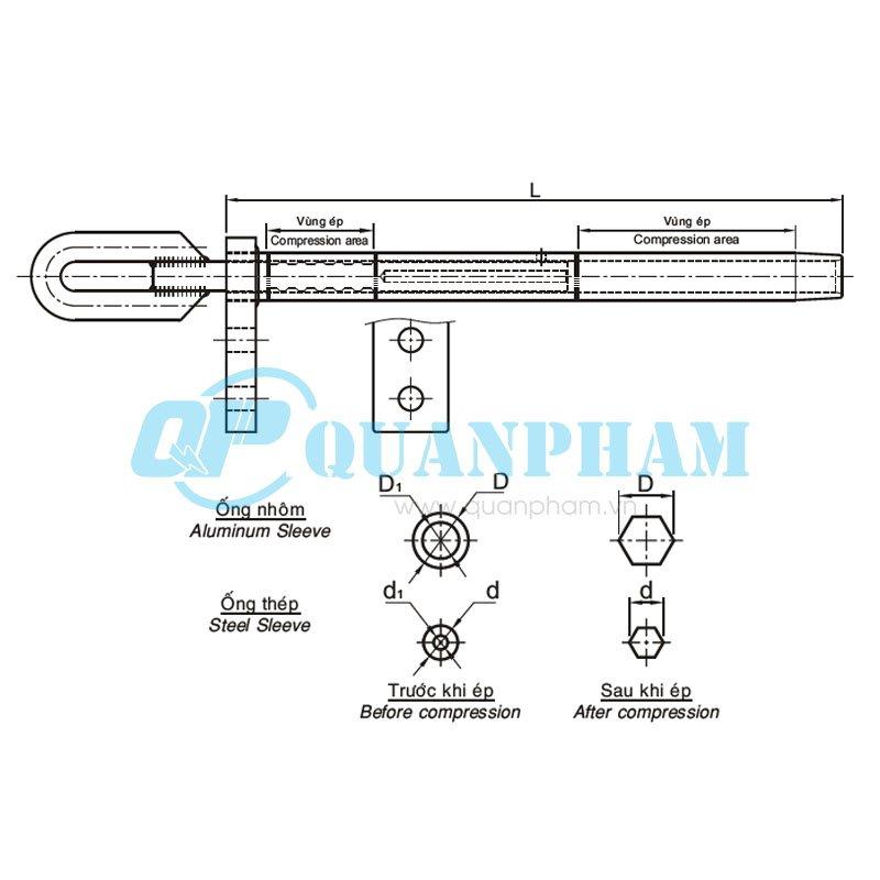 Khóa néo ép cho dây ACSR Dead-end Clamps for ACSR (type LCDE – compression) 1