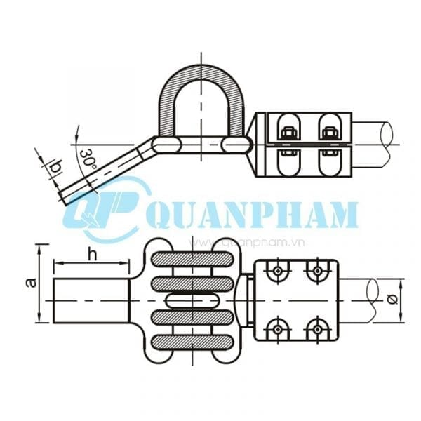 Nối thanh cái Flexible Clamps for Tubular Bus-bar (type MGS – 30°) 1