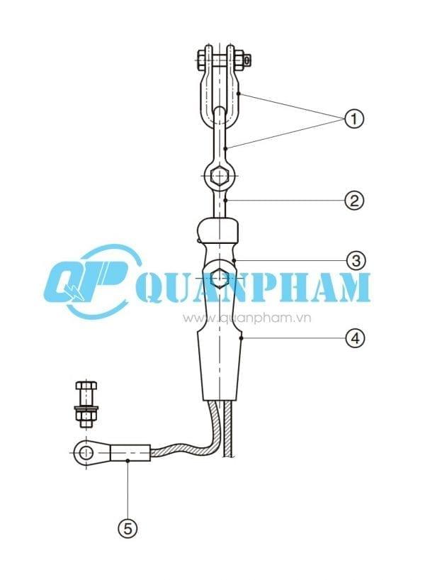 Bản vẽ kỹ thuật chuỗi néo đơn cho dây chống sét 70KN
