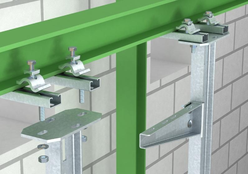 Kẹp thanh treo thang mang cáp trên dầm thép hướng ngang