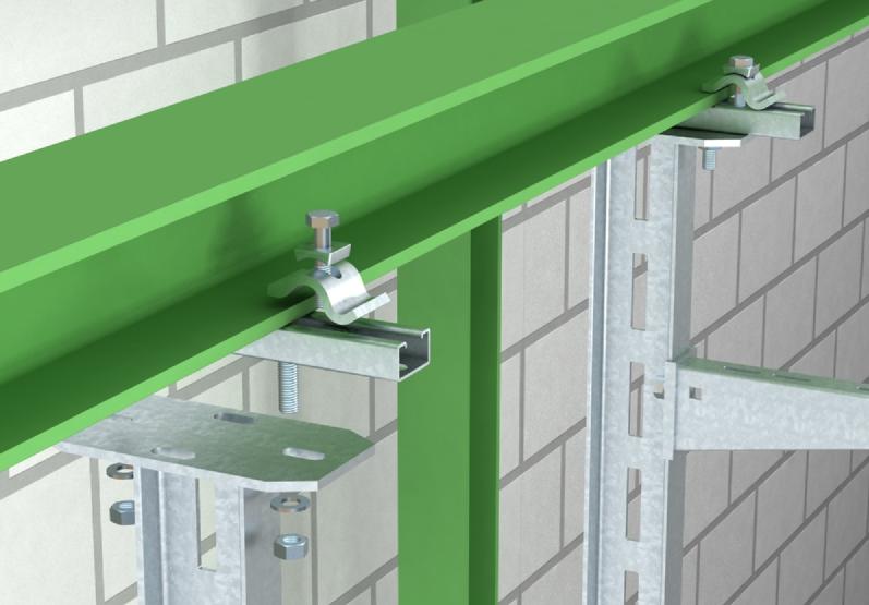 Kẹp thanh treo thang mang cáp trên dầm thép hướng dọc
